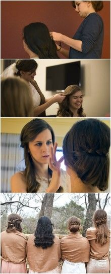 """DIY Hair!  I did my hair and my bridesmaids hair. Nothing too  extravagant, just some simple braids. It took about an hour before pictures. It saved a lot of money. My hair is a half-french braid going horizontal, with a bun pinned underneath.  The bridesmaids have waterfall braids. The maid of honor has one half-french braid going diagonal downward with the long end pinned back up to give it a """"double braid"""" look. #bridesmaid #diyhair #braids #braid #bride"""
