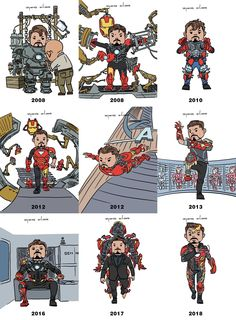 Tony Stark / Iron Man through the years. Iron Man Avengers, Marvel Avengers, Iron Heart Marvel, Marvel Comics, Films Marvel, Marvel Jokes, Marvel Funny, Marvel Heroes, Avengers Memes