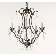 """TOLE WROUGHT IRON & CRYSTAL CHANDELIER W 16"""" x H 22"""""""