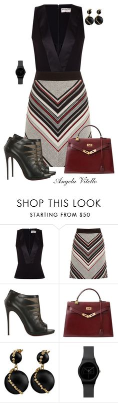 """Untitled #683"" by angela-vitello on Polyvore featuring Balenciaga, Warehouse, Christian Louboutin and Hermès"