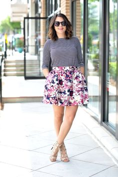 Floral Express skirt and striped tee via @mystylevita - 1