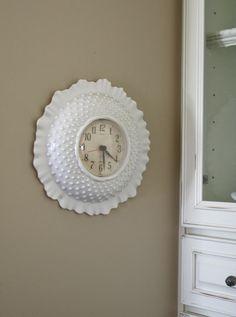 Faux Milk Glass hobnail clock #thrift