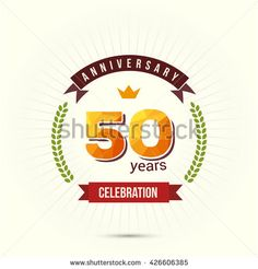 50 Years Anniversary with Low Poly Design and Laurel Ornaments - stock vector