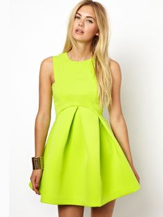Yellow Sleeveless High Waist Dress