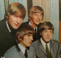 The Beatles at a press conference in New Zealand, June 1964. Photo from a 1964 New Zealand magazine.