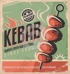 Kebab retro poster design.