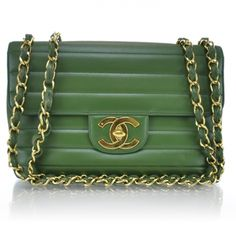 d927d71fbc94 CHANEL Vintage Lambskin Horizontal Quilt Jumbo Flap Kelly Green. Green Purse,  Coco Chanel,