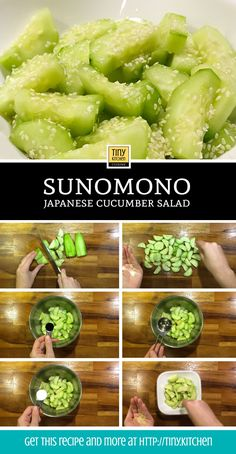 Sunomono is a quick and easy japanese cucumber salad dressed with minimal ingredients. This sweet and tangy side dish can go alongside any asian meal. Sunomono - How To Make Sunomono: A Japanese Cucumber Salad Recipe Salad Recipes Healthy Lunch, Cucumber Recipes, Salad Recipes For Dinner, Chicken Salad Recipes, Vegetarian Recipes, Cooking Recipes, Tuna Steak Recipes, Bento Recipes, Cooking Bacon