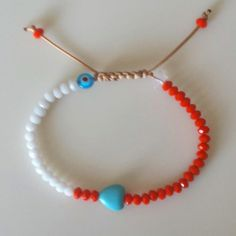 Mommy & Me, Crystal Bracelet with Howlite Heart and Evil Eye, Kids Bracelet, Orange, White, Turquoise, Free Shipping by GlowHandmade on Etsy