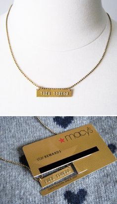 How to up-cycle a credit card into a name necklace step by step DIY tutorial instructions