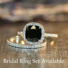 Black Spinel Halo Diamond Engagement Ring in 14k by LaMoreDesign
