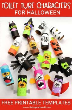 If you want some awesome craft ideas to make with your kids this Halloween, then try one of these toilet tube crafts from the Inspiration Edit! Use our free printable templates to make your own adorable monsters for Halloween. Make one of these toilet paper roll crafts today. Mummy Crafts, Halloween Arts And Crafts, Halloween Activities For Kids, Fall Crafts For Kids, Paper Crafts For Kids, Diy Halloween, Craft With Paper, Halloween Crafts Kindergarten, Fall Arts And Crafts