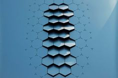 tessellation is used in this vent design through the use of repeated hexagonal shapes. A raised texture is also felt here and is amplifies as the viewers eyes move to the top of the image. Module Design, 3d Design, Pattern Design, Creative Design, 3d Pattern, Sport Design, Tile Patterns, Textures Patterns, Icon Set