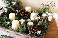 Candles, pines, and pine cones Christmas Advent Wreath, Rustic Christmas, Christmas Holidays, Christmas Crafts, White Christmas, Outdoor Christmas Decorations, Holiday Decor, Xmas Theme, Deco Table