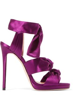 Heel measures approximately 120mm/ 5 inches Purple satin   Ties at ankle  Designer color: Madeline  Made in Italy