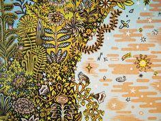 The Intergalactic Woodcut Print by Tugboat Printshop.|FunPalStudio|Illustrations, Entertainment, beautiful, creativity, nature, drawings, paintings, Art, Artwork, Artist, woodblock prints, sculptures, wooden Carving.