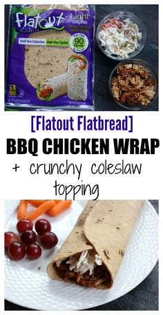 BBQ sauce and coleslaw give lots of crunch and flavor to this Flatout Flatbread BBQ chicken wrap! Perfect for a weekday lunch or simple weeknight dinner. Lunch Box Recipes, Lunch Snacks, Healthy Dinner Recipes, Lunch Ideas, Healthy Lunches, Bag Lunches, Meal Ideas, Healthy Food, Food Ideas