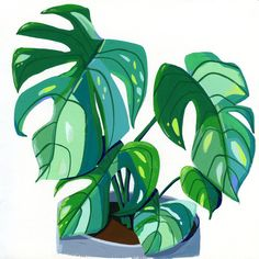 Easy Flower Painting, Plant Painting, Plant Art, Gouache Painting, Painting & Drawing, Painting Prints, Art Prints, Plant Aesthetic, Aesthetic Painting