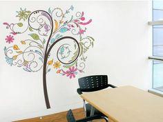 Adesivo para Sala - Árvore Floral Colorida