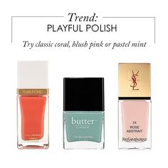 Cora Beach Nail Lacquer {Tom Ford} Rose Abstrait Nail Lacquer {Yves Saint Laurent} Poole Nail Lacquer {Butter London}