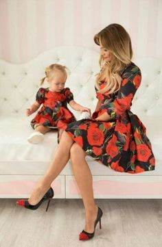 Rose - matching dresses, floral mother and me dresses, family outfits, mother…- Mommy and Me Fashion -meadoria Mother Daughter Matching Outfits, Mother Daughter Fashion, Mommy And Me Outfits, Family Outfits, Girl Outfits, Mommy And Me Dresses, Moda Outfits, Fashion Kids, Trendy Fashion