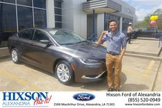 Hixson Ford of Alexandria Customer Review  Mr. Kendrick Crumpe did an incredible job on selling me my first car! He did not give up and he stayed persistent to help me achieve my dreams. It is amazing what can be done when someone is truly rooting for you. I was referred by a familiar customer from my job to come give Mr. Kendrick a visit and it was really a blessing in disguise. I originally came for a Honda Civic and now I'm walking away with a 2015 Chrysler 200! This is definitely one of…