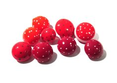 Hand Painted Red Glass Buttons West Germany Polka Dots VINTAGE Buttons Nine (9) Assorted Polka Dots Vintage Jewelry Sewing Supplies (N61) by punksrus on Etsy