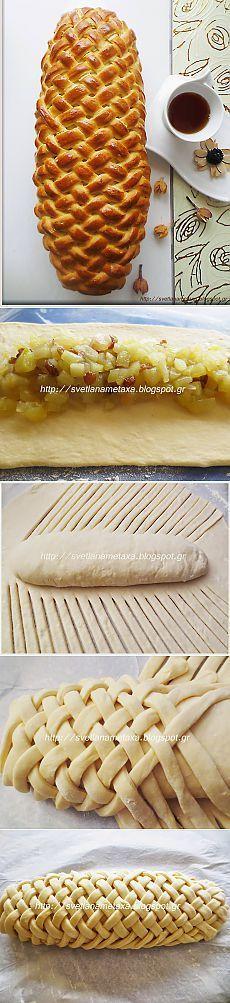 REVELACIÓN DE CULINARIA SVETLANA Metaxa: Roll & quot; & quot trenza; relleno con manzanas y uvas pasas (pasteles) Figured