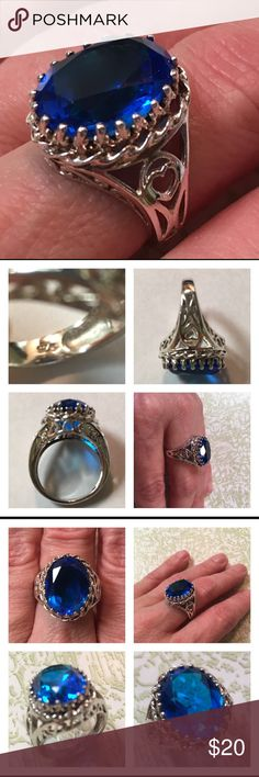 Sterling Silver Filigree Ring Bright Blue Stone Pretty ring with a bright blue stone. Blue CZ?  Ring has one prong that the tip has come off. See picture with yellow arrow showing Flaw. Ring has been used but is still nice and Shiny. Just slightly misshapen on the band. But it's really hard to tell. I'm being very critical. I believe this is a size 7. Please see ruler measurement. Stone has no scratches. Looks similar to a large London blue topaz but this is just a tad too bright blue…