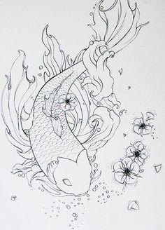 koi fish drawing tattoo tattoos outline drawings japanese deviantart google pretty outlines pencil poisson lineart sketch fisch fische zeichnungen sketches