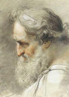 Gaetano Gandolfi ~ Study of bearded male head, 1797