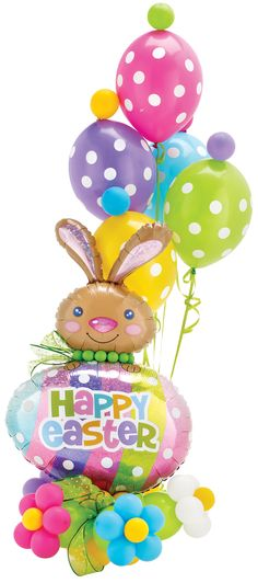 #529, Happy Easter, Hops & Dots! Your customers will hop straight to you, quick-like-a-bunny so you can provide adorable Easter balloon arrangements like this cutie. www.betallic.com #betallic