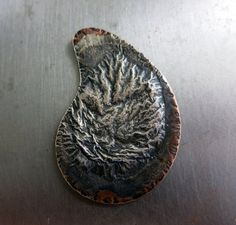 Fused Silver on Copper Pendant 1 1/2 Paisley by SupplyYourSoul