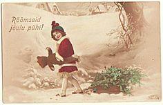 Girl with Teddy Bear. Xmas Postcard 1926