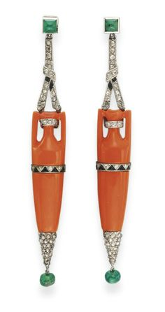 A PAIR OF ART DECO CORAL, DIAMOND AND EMERALD EAR PENDANTS, BY CARTIER  Each designed as an elongated coral amphora with rose-cut diamond and black enamel geometric detail, accented by a pavé-set rose-cut diamond terminal and an emerald bead, suspended from a diamond and black enamel openwork link, to the square sugarloaf cabochon emerald surmount, mounted in platinum, circa 1925