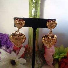 "15% off w/Coupon 41507 Vintage Nina Ricci Heart Shaped GOLD PLATE Clip On 2"" Earrings with a Design on the front. Signed. by CCCsVintageJewelry on Etsy"