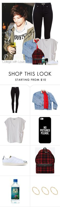 """""""College with Louis"""" by diana-megumi ❤ liked on Polyvore featuring Burberry, Humanoid, Casetify, adidas Originals, Yves Saint Laurent, ASOS and Ray-Ban"""