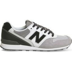 NEW BALANCE 996 suede trainers ($95) ❤ liked on Polyvore featuring shoes, sneakers, grey black, gray sneakers, new balance sneakers, black sneakers, black shoes and grey sneakers