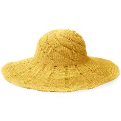 Mar Y Sol Women's Andia Crocheted Hat - Yellow ($59) ❤ liked on Polyvore featuring accessories, hats, yellow, crown hat, crochet hat, crochet crown, crochet sun hat and mar y sol