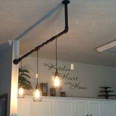 """""""Plug in Lights"""" Edison vintage bulbs Vintage Pendant light kit cord w/ dimmer Newhouse lighting metal lamp guard Industrial black pipes Bought all on Amazon except for the pipes!"""
