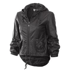 Trendy Hi-Low Faux Leather Jacket Trendy black hi-low faux leather hoodie jacket. Available sizes S,M,L. Let me know if you'd like to purchase & I will make a separate listing for you ☺️ Photos courtesy of Monoreno  Jackets & Coats