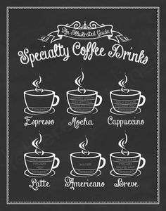Specialty Coffee Drinks: An Illustrated Guide - 11x14 Print - Chalkboard, Sign, Coffee Shop Art, Guide To Coffee, Coffee Lover Gift. $23.00, via Etsy.