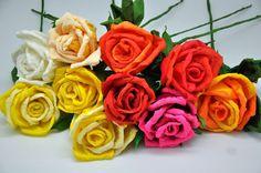 How to make  crepe paper roses  tutorial  DIY