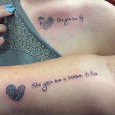 Wonderful Lettering Mother Daughter Tattoos With Fingerprint