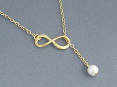 Infinity Necklace, Infinity Pendant and Pearl Lariat Necklace, Infinity and Pearl Lariat Necklace, Back to School, Bridesmaid Necklace on Etsy, $22.50