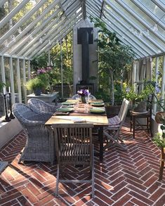 Greenhouse Farming is the process of cultivating crops and vegetable. If you have a greenhouse or are considering setting up one, then we'll share what greenhouse plants grows best inside. Outdoor Spaces, Outdoor Living, Outdoor Decor, Home Greenhouse, Greenhouse Wedding, Brick Flooring, Glass House, Cabana, Architecture Details
