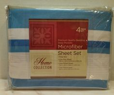 King Sheet Set Microfiber blues olive and white 4 piece New in package #homecollection #Contemporary