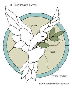 Free Peace Dove stained glass craft project and 1000's of other  arts and crafts patterns and projects at Craftown.