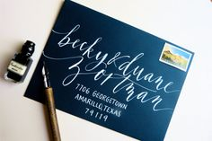 This calligrapher takes a modern approach by spacing the letters out and using a looser kerning approach in the name.