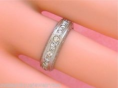 ANTIQUE .90ctw DIAMOND PLATINUM WIDE ETERNITY BAND RING 1930 sz6.75